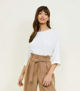New Look White Contrast Stitch 3/4 Sleeve Top