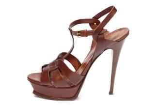 Saint Laurent Tribute Brown Leather Sandals