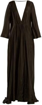 KALITA Clemence deep V-neck silk maxi dress