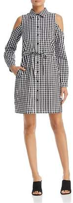 Design History Gingham Cold-Shoulder Shirt Dress