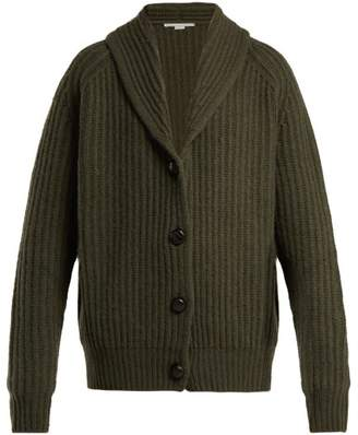 Stella McCartney Ribbed Cashmere Blend Cardigan - Womens - Khaki