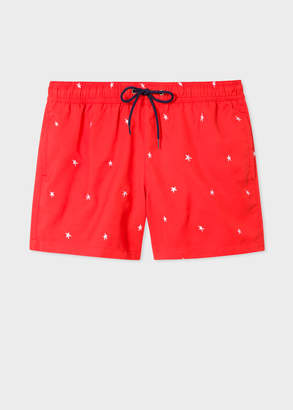 Paul Smith Men's Red Swim Shorts With 'Star' Embroidery