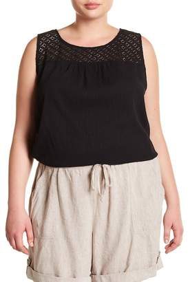 Joe Fresh Crochet Lace Yoke Sleeveless Blouse (Plus Size)