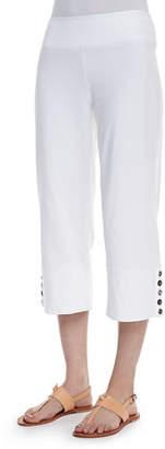 Neon Buddha Seascape Button-Cuff Capri Pants, Plus Size