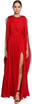 Elie Saab Draped Crepe Georgette Dress