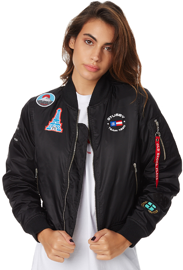 Stussy Womens Patched Bomber Black