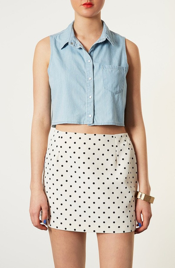 Moto 'Sophie' Crop Sleeveless Denim Shirt Mid Stone 10