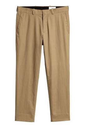 H&M Cropped Cotton-blend Chinos - Dark beige - Men