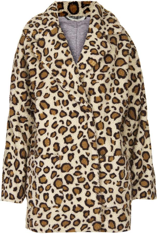 Petite leopard print borg coat