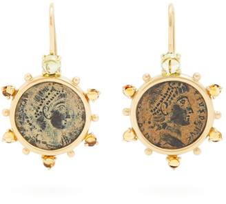 DUBINI Empress coin, citrine & heliodor gold earrings