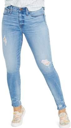 Madewell 9-Inch Destructed Hem High Waist Skinny Jeans (Cliff Wash)