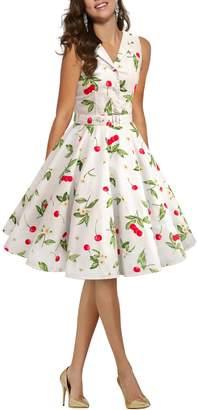 BlackButterfly 'Luna' Retro Joy 50's Dress (White Red, US)