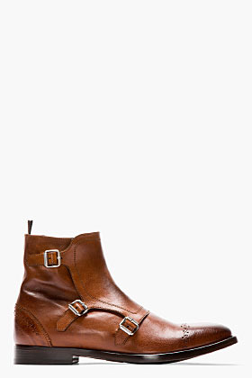 Alexander McQueen Brown leather brogued monk-strap boots