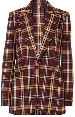 Burberry Checked Wool Blazer - Burgundy