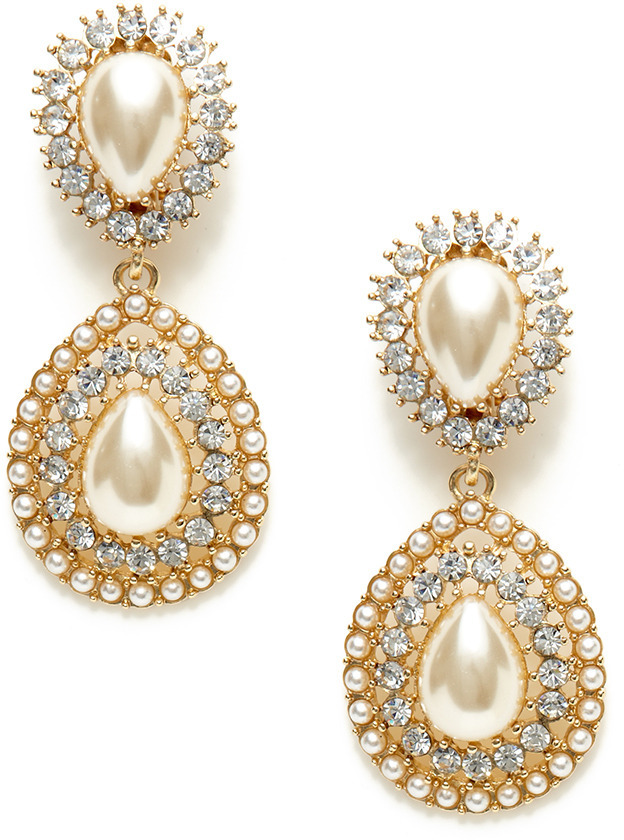 Kenneth Jay Lane Faux Pearl Double Teardrop Earrings