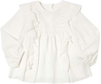 Chloé Ruffled Crepe Shirt With Lace