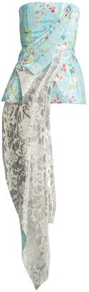HALPERN Floral-print asymmetric-draped bustier top