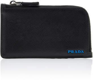 Prada Two-Tone Leather Zip Card Case