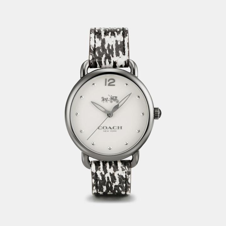 Coach  COACH Coach Delancey Ionized Plated Python Leather Strap Watch