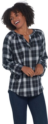 Belle By Kim Gravel Belle by Kim Gravel Flannel Plaid Blouse with Tie Sleeve