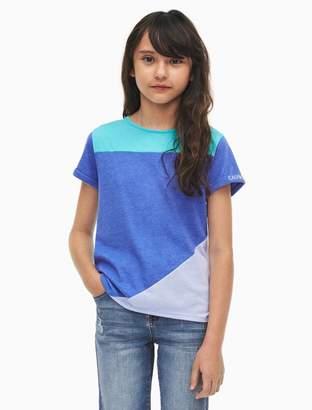 Calvin Klein girls colorblock logo t-shirt