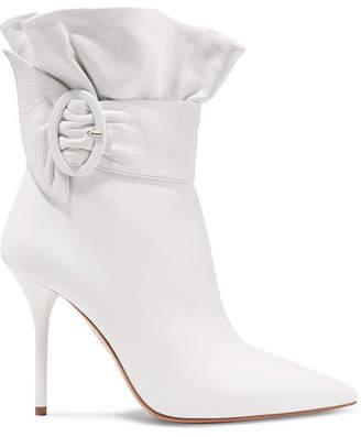 Aquazzura Palace Ruffled Leather Ankle Boots - White