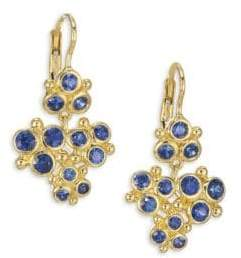 Temple St. Clair Cluster Trio Blue Sapphire Earrings