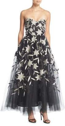 Oscar de la Renta Strapless Star-Flower Embroidery Tulle Tea-Length Evening Gown
