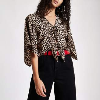 River Island Womens Brown leopard print tie front cape top