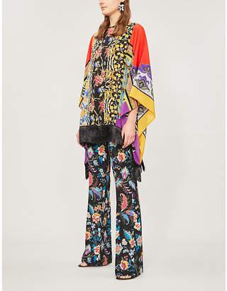Etro Fringed printed silk-crepe poncho