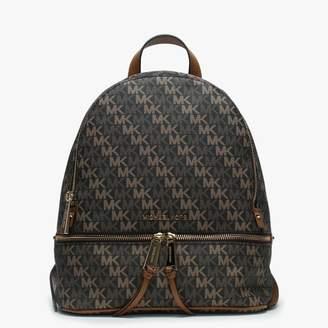 Michael Kors Rhea Diagonal Logo Brown Coated Canvas & Acorn Leather Backpack