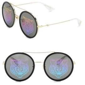 Gucci Urban Web Block 56MM Round Sunglasses