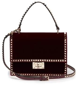 Valentino Rockstud No Limit Velvet Cross Body Bag - Womens - Burgundy