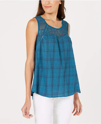Style&Co. Style & Co Lace-Trim Printed Sleeveless Top, Created for Macy's