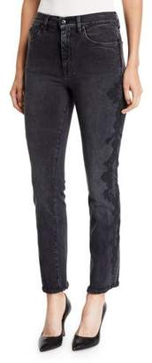 Jonathan Simkhai E-Cig Lace Applique Straight-Leg Jeans