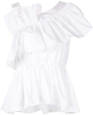 3ae8e6141f986 White Ruffle One Shoulder Top - ShopStyle
