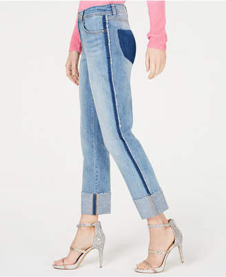 INC International Concepts I.n.c. Two-Tone Cuffed Straight-Leg Ankle Jeans