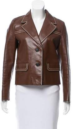 Prada Leather Notched-Lapel Jacket