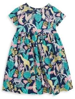 Smiling Button Toddler's, Little Girl's& Girl's Tropical Jungle Sunday Cotton Dress