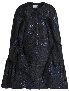 DELPOZO Cape-Effect Ruffled Brocade Coat