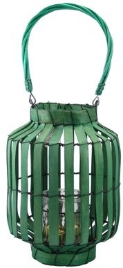 "Kaemingk 20"" Tropicalia Green Cabana Tiki Bar Votive Candle Holder Lantern"