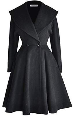 Begonia.K Women's Wool Trench Coat Lapel Wrap Swing Winter Long Overcoat Jacket