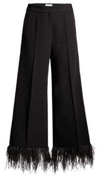 Milly Hayden Wide Leg Feather Hem Pants