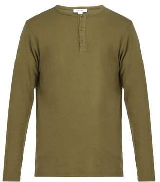 Frame Long Sleeved Cotton Henley T Shirt - Mens - Khaki