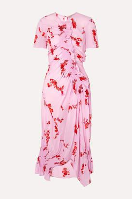 Preen Line Serelida Asymmetric Ruffled Floral-print Crepe De Chine Dress - Pink
