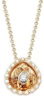 Aura 14K Yellow Gold & Diamond Hidden Halo Pear Pendant Necklace