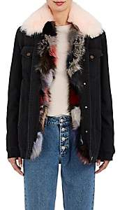 Mr & Mrs Italy Women's Fox-Fur-Lined Denim Jacket-Black