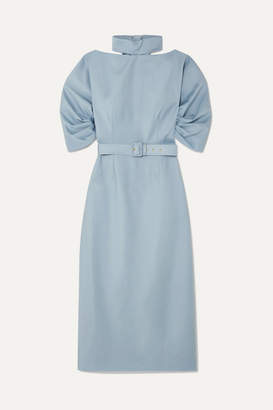 Emilia Wickstead The Woolmark Company Belted Wool-crepe Midi Dress - Light blue