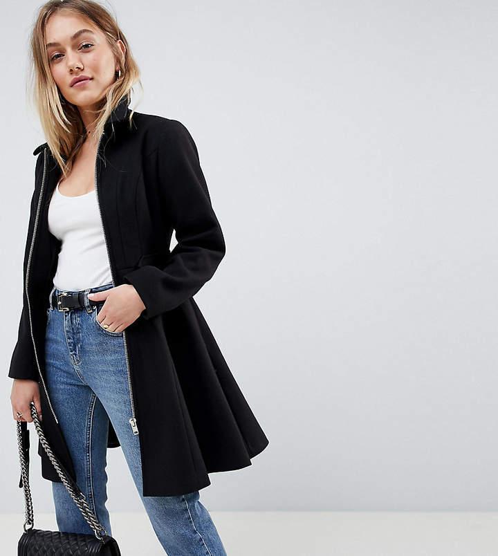 ASOS Petite ASOS DESIGN Petite swing coat with zip front