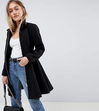 Asos DESIGN Petite swing coat with zip front